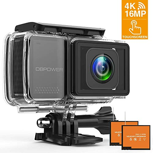 DBPOWER EX7000 PRO 4K 16MP Action Camera, 2.45' LCD Touchscreen WiFi Telecamera Sport Impermeabile Sony Sensore Videocamera con Obiettivo Grandangolare da 170°/EIS /2 Batteries/Full Accessori