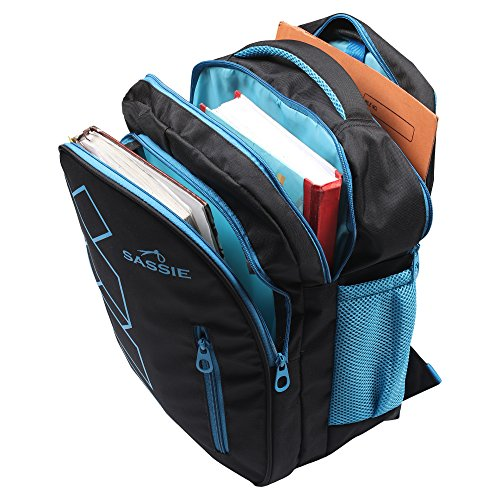 Sassie Polyester 41 L Black Blue School and Laptop Bag with 3 Large Compartments 2