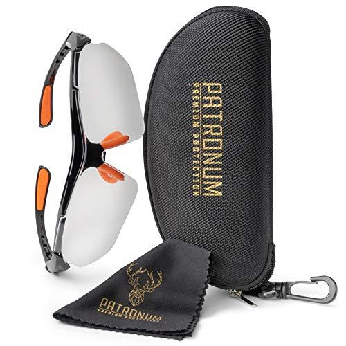 PATRONUM Premium Protection Schutzbrille mit hochwertigem Brillenetui und Microfaserputztuch - Kratzfest - Beschlagfrei - UV-Schutz - Ideal für Baustelle, Werkstatt, Garten und Sport