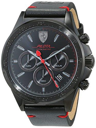 Orologio da uomo con cinturino in pelle nera, Scuderia Ferrari 0830434