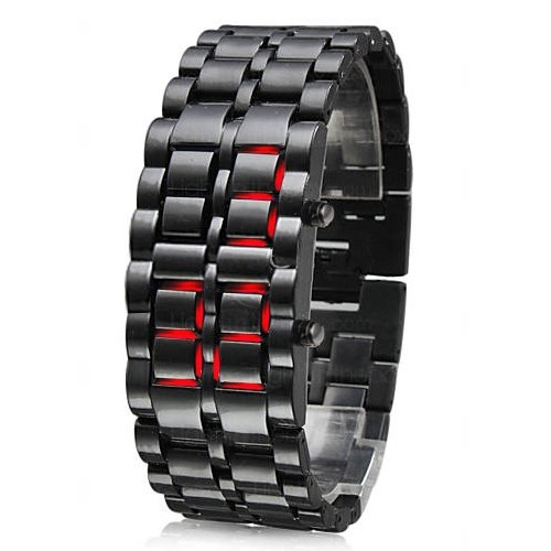 Trixes - Orologio da polso digitale, a LED, con cinturino in acciaio