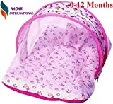 Nagar International Baby Luxury and High Quality Bedding Mattress Set with Mosquito Net in Cotton Fabric (ABCD Pink, 0-12 Months)