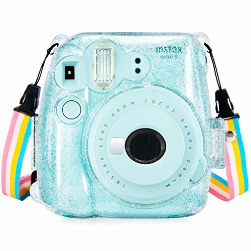 Anter Crystal Instax Mini 8 Custodia in PVC per Fujifilm Instax Mini 8 Mini 8 + Mini 9 Macchina fotografica istantanea con cinghia colorata smontabile (Trasparente A)