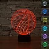ATD® 3D Illusione Ottica basket Acrilico 7 colori Cambiano la decorazione domestica luce notturna a LED