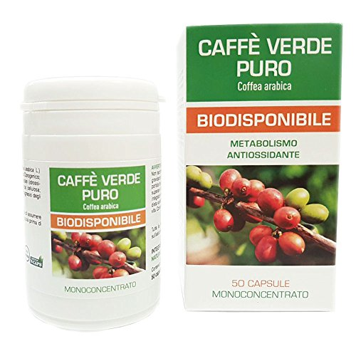 Caffe Verde Puro Naturfarma 50 Vegan capsule da 500 mg di Estratto Secco Titolato al 45% in Acido Clorogenico |Senza Glutine Senza Lattosio Vegan Approved e capsule in gel vegetale