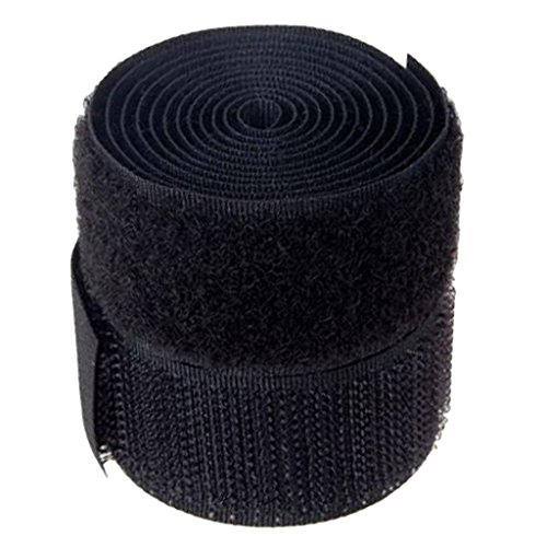 Imported 1 Inch x 1 Yard Sew-On Hook and Loop Tape - Black