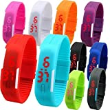 Red Star Unisex Silicone Jelly Slim Set of 10 Sports Digital Led Bracelet Band Watch for Boys & Girls birthday return gift