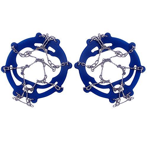 Vococal - 1 par 10 Dientes PE Hielo Nieve Crampones de Antideslizantes de Bota Zapato Cubiertas Spike Cleats Pinza de Hielo para Caminar la Caminata Escalada al Aire Libre (Azul,M)