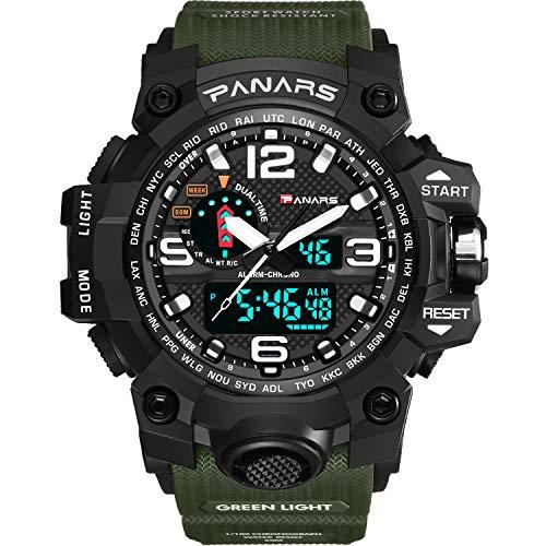 Reloj de Cuarzo analógico Militar para Deportes al Aire Libre, con Pantalla Doble, Resistente al Agua, Digital, Multifuncional, con retroiluminación LED, Alarma, cronómetro, Color Verde