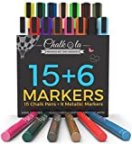 Chalk Pens & Metallic Colours - Pack of 21 Chalk Markers - for Chalkboard, Whiteboard, Window, Labels, Bistro - 6mm Bullet Tip