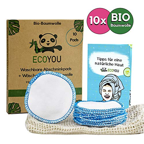 EcoYou® Abschminkpads waschbar BIO-Baumwolle [10x] Inkl. Wäschenetz aus Baumwolle ♻ Nachhaltige ZERO WASTE Wattepads wiederverwendbar ♻ Bonus: Gesichtspflege Guide + DIY Rezepte