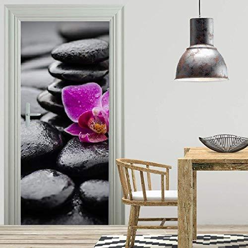 Adesivi per porte 3D Zen flower poster murale carta da parati casa sfondo camera da letto...