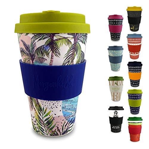 Morgenheld  il tuo bicchiere di bambù alla moda   Coffee-to-Go bicchiere ecologico   bicchiere ecosostenibile con coperchio in silicone e fascetta dal design futuristico da 400 ml (Wave)