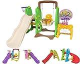 Clarmaro 'Kids Adventure 5in1' Kinder Spielplatz Rutsche mit 140 cm Wellenrutsche, Schaukel, Fußballtor und 2 Basketballkörben, Garten Rutschbahn, Spielturm und Rutsche Breiten Stufen und Standbeinen