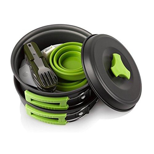 CRS Camping Outdoor Kochgeschirr Set   13-Teilig   BPA-Frei & Keine Giftstoffe   Faltbar & Leicht – Ideal für Reise, Festival, Wandern   Campinggeschirr für 2 Personen