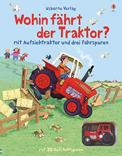 Wohin fährt der Traktor?: mit Aufziehtraktor und drei Fahrspuren