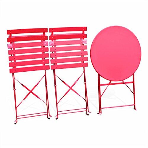 Alice\'s Garden - Salon de jardin bistrot pliable - Emilia rond rouge ...