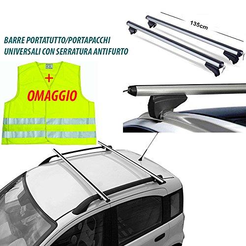 Lupex BARRE PORTAPACCHI 7886 UNIVERSALI AUTO CON SERRATURA ANTIFURTO 135CM + Gilet di emergenza in...