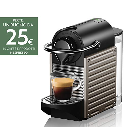 Krups Nespresso Pixie XN304TK Macchina per caffè Espresso, Ricette Programmabili, 1260 W, Titan,...