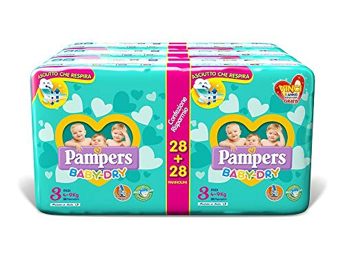 Pampers Baby Dry Duo Midi, 168 Pannolini, Taglia 3 (4-9 kg)