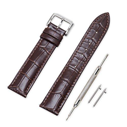 Vinband Cinturino Quick Release in Vera Pelle Cinturini Orologi Accessori Smart Bordatura Cucita - 16/18/19/20/21/22/24 mm Cinturino Orologio con Fibbia in Acciaio Inossidabile (20mm, testa di moro)