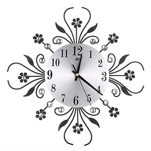 Anivia stile europeo orologio da parete in ferro battuto diamante moda soggiorno camera da letto orologio da parete in metallo silenzioso per la decorazione domestica