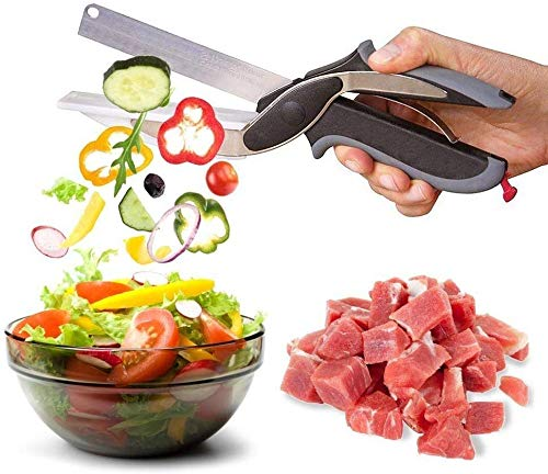 Zebx 2-in-1 Clever Food Chopper Cutter Scissor Slicer Stainless Steel Knife Quickly Chops Your Favorite Fruits, Vegetables, Meats, Cheeses, Food Chopper