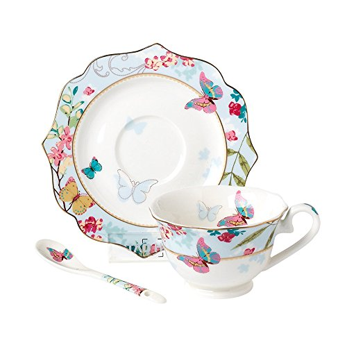 ufengke® 170ml Elegante Porcelana De Ceniza De Hueso Flores De Cerezo Y Mariposa Impresa Juego De Café Juego De Taza De Té Y Platillo Con Cuchara, Azul