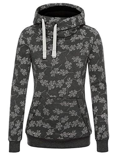 EA Selection Damen Sweaters Hoodie Kapuzenpllover Coolen Stehkragen Grau-Baum XL