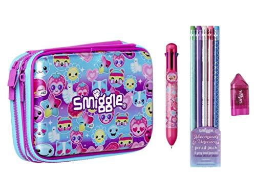 Smiggle, set regalo di astucci con doppio coperchio rigido, 4 pezzi rosa