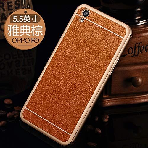 SCSY-Cas de la mode étui de Protection arrière Coque en Cuir véritable téléphone Coque Coque pour Oppo r9 Plus (Color : Brown) 6