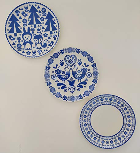 Block Decor Ceramic Real Art Wall Hanging Plates (7 Inch, Blue) -3 Pieces