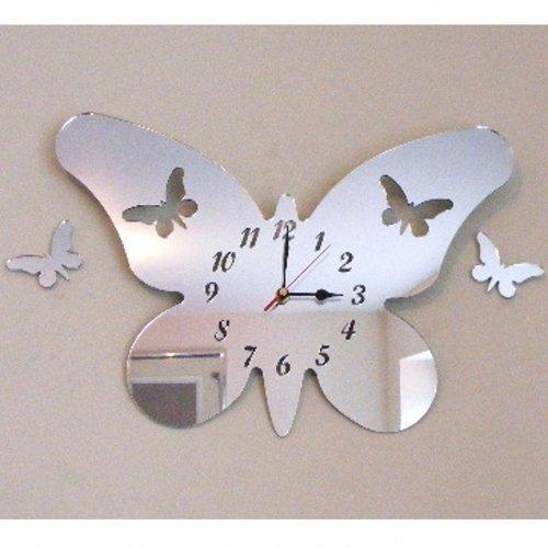 Reloj De Espejo De Acrílico De Plata, En La Forma De Una Mariposa Con Dos Mariposas Flotantes - 30cm x 21cm con Dos Mariposas