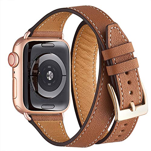 WFEAGL Compatibile con Cinturino Apple Watch 38mm 40mm, Multicolore Ultrasottile Pelle Cinturini Compatibile con iWatch Serie 5 Serie 4 Serie 3/2/1(38mm 40mm,Marrone Doppio+RoséGold Adapter)