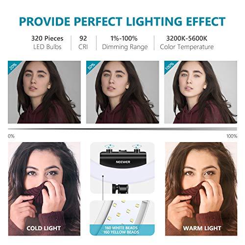 Neewer Ring Light Kit [1,8cm Ultra Fin] Anneau Lumineux 48 cm, 3200-5600K, Lumière Anneau à Intensité Réglable avec Pied, Porte-Smartphone, ... 24