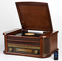 Kaufen Nostalgie Holz Musikanlage | Kompaktanlage | Retro Stereoanlage | Plattenspieler | Radio | Bluetooth CD Player USB Kassette Fernbedienung | MP3-Encoding: Aufnahmefunktion | Aux in | Laustprecher