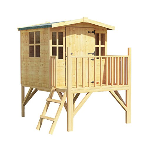 This is made of T & G panels, which are strong, offer better protection from the weather, and have a smooth engineered finish. The exterior is plain, so you decorate it to your child's wishes. The real quality of this playhouse is best told by the 5-year anti-rot warranty on offer.