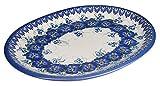 Classic Boleslawiec Pottery Hand Painted Ceramic Oval Dish, Banquet Turkey Serving Platter, L: 34 cm, 13 inches, Large, 520-U-003