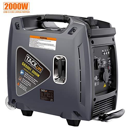 TACKLIFE Generador Electrico Gasolina, 2000W Generador Inversor Portátil Silencioso, USB de Carga 3.0, Tanque 4.2L, Funciona de 8h, Maleta, Varilla de Tracción Telescopica, 25KG GEG001