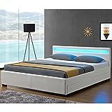 Juskys Polsterbett 'Lyon' - 140 × 200 cm - weiß - Bettgestell mit Bettkasten, Lattenrost, LED-Beleuchtung & Kunstleder | ArtLife
