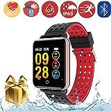 Bluetooth Smartwatch Fitness Uhr Intelligente Armbanduhr Fitness Tracker Smart Watch Sport Uhr mit Kamera Schrittzähler Schlaftracker Romte Capture Kompatibel mit Android Smartphone (M19-RoseGold)