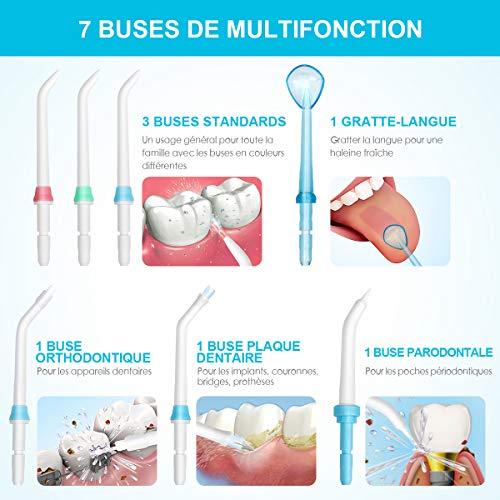 Hydropulseur Jet Dentaire Électrique iTeknic Irrigateur Dentaire Oral Professionnel avec 7 Buses de Rechange Rotation 360°, 10 Pressions Rég... 27