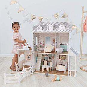 Teamson Kids- casa de muñecas, Color Blanco/Gris (TD-12901A)