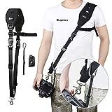 Sugelary Kameragurt Schnellverschluss Neopren Schwarz Kamera Tragegurt Schultergurt Gurt für Canon Nikon Sony Fujifilm Olympus DSLR SLR (F-2)