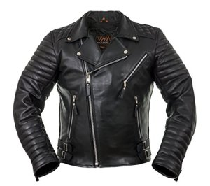 WM FASHION Herren Echtlederjacke (Motorrad, Biker, Biker Leather Jacket Biker Jacket Haighway Jacket 80 Retro 1