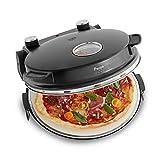 Horno para Pizzas Peppo, Máquina para preparar pizzas como al horno de piedra a 350°C, temporizador e indicador luminoso, incluye 2 volteadores grandes de pizza - negro