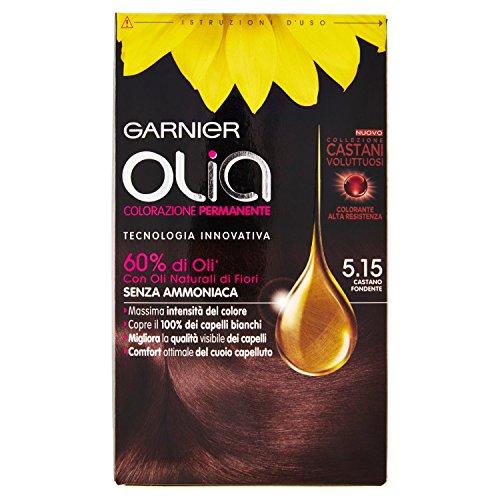 Garnier Olia Colorazione Permanente senza Ammoniaca, Migliora la Qualità dei Capelli, Copre i Capelli Bianchi, 5.15 Castano Fondente
