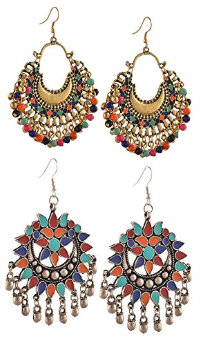 YouBella Multicolour Gold-Plated Dangle and Drop Afghani Tribal Earrings for Women