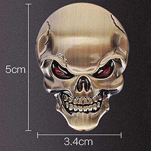 2 PCS 3D Schädel Zink-Legierung Metall-Auto-Motorrad-Aufkleber Schädel-Emblem-Abzeichen-Car Styling Stickers Zubehör 2
