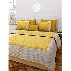 JAIPUR TO HOME Pure Cotton Jaipuri Print King Size Bedsheet for Double Bed with 2 Pillow Covers (Yellow)